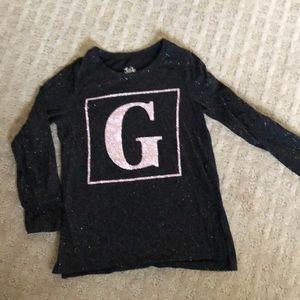 """Girls """"G"""" glitter shirt"""